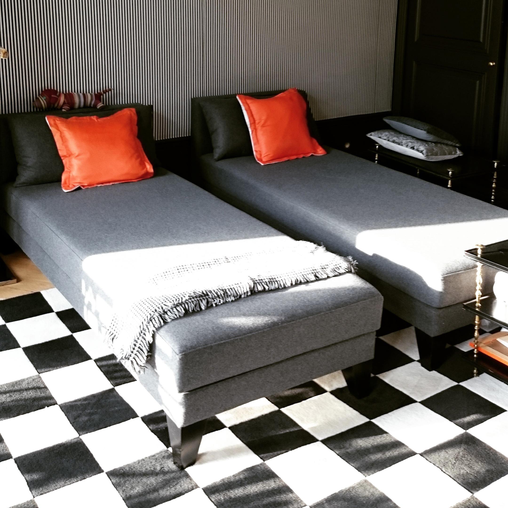 habillage de lit sur mesure en flanelle