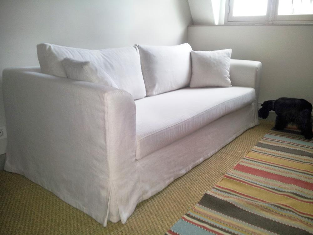 housse de canapé sur mesure en lin blanc