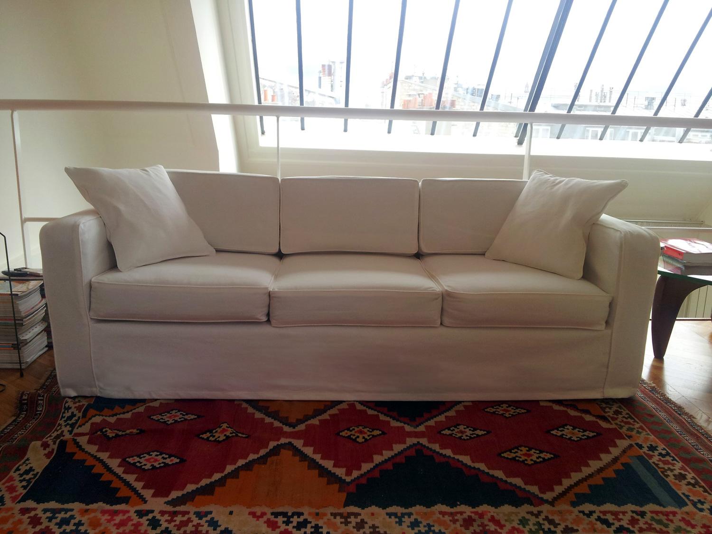 housse de canapé sur mesure en toile blanche