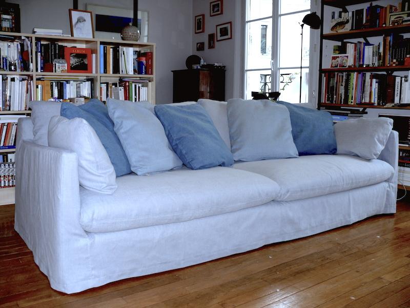 Housse de canapé sur mesure sur un modèle Roche Bobois