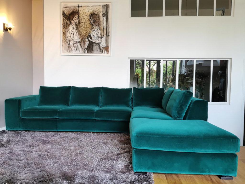 housse de canapé sur mesure velours vert emeraude